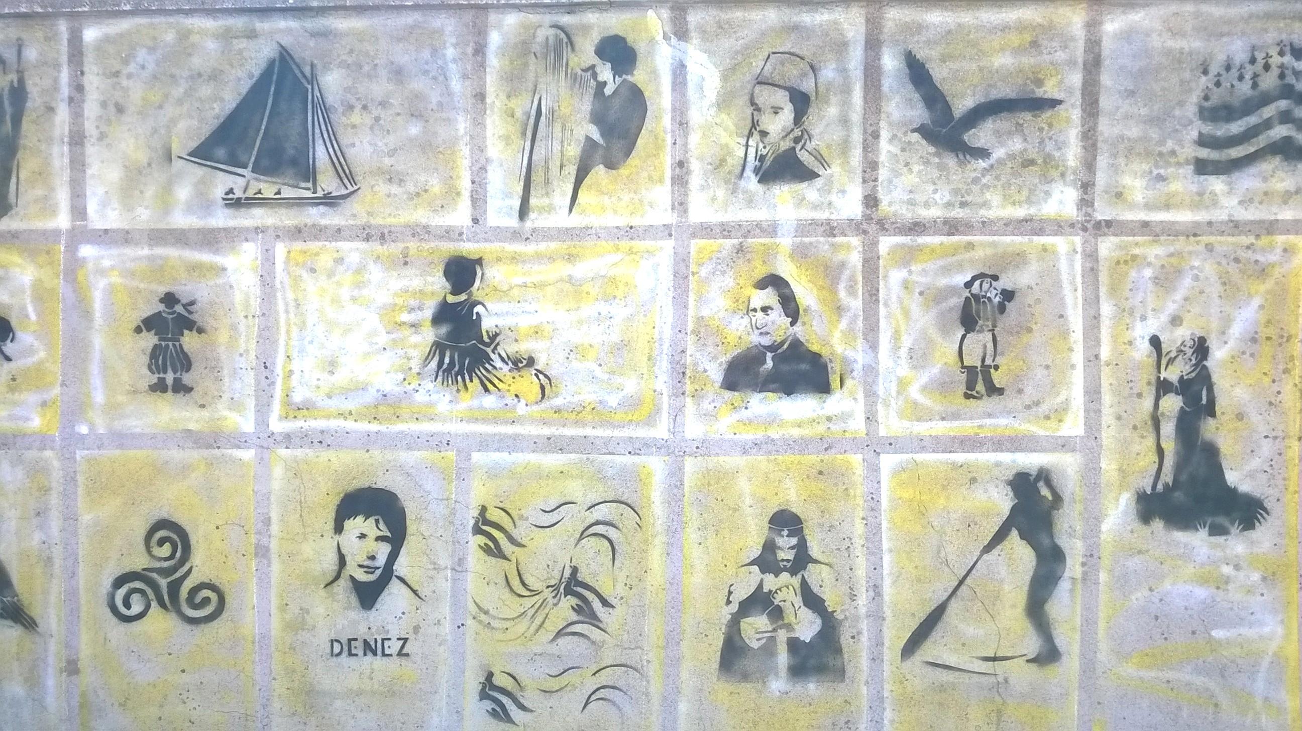 Une fresque murale au pochoir e styves coll ge saint - Pochoir mural fee ...